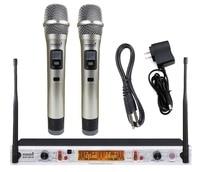 STARAUDIO Professional DJ Stage Church Club Disco Party Karaoke Microphone 2CH UHF Wireless Handheld IR Microphone Set SMU 0215A