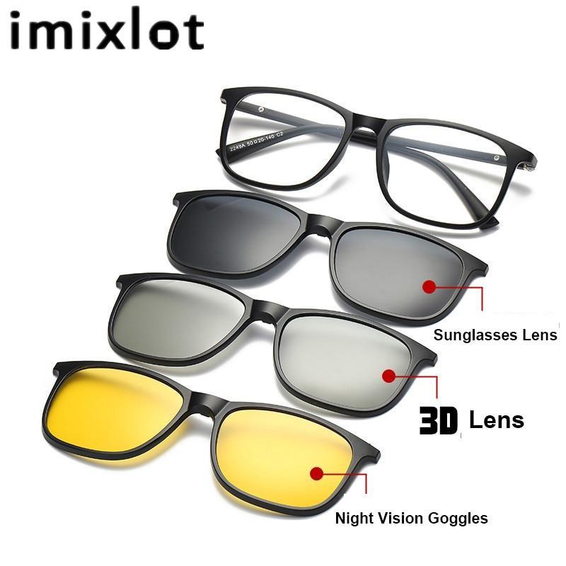 IMIXLOT font b Fashion b font Glasses Match Magnet Clip Myopia Glasses Polarized Sunglasses 3D Lens