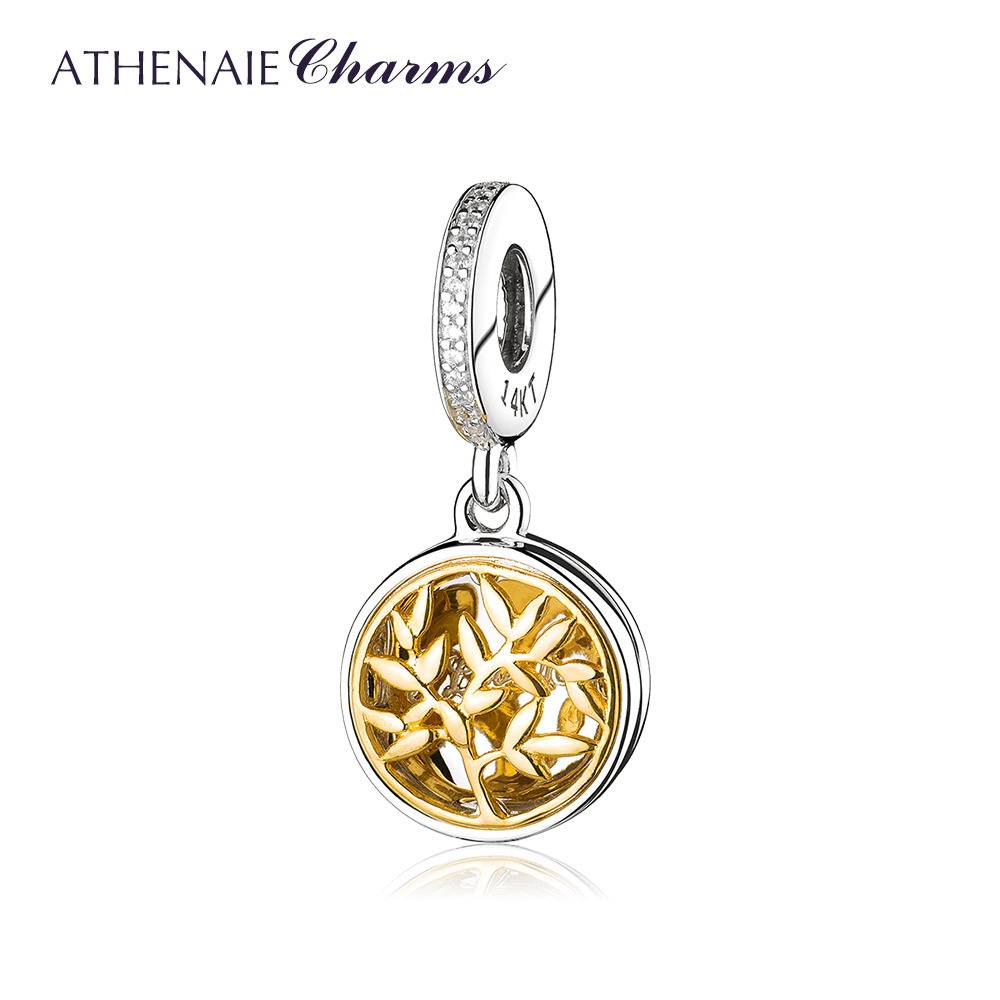 ATHENAIE 925 Sterling Silver and Pave14K Gold Clear CZ Openable Tree of Love Pendant Charms Fit