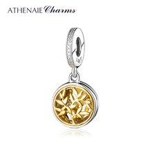 ATHENAIE 925 فضة و Pave14K الذهب واضح تشيكوسلوفاكيا منفتح شجرة الحب قلادة جالبة للحظ صالح المرأة سوار مجوهرات الأزياء