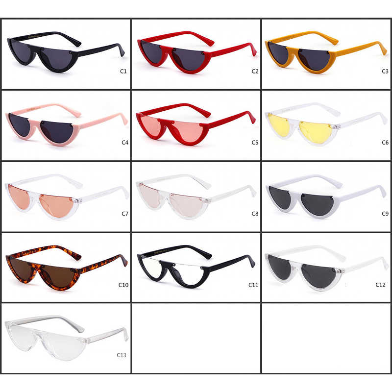 37786a0c359e ... 2019 Half Moon Slim Sunnies Sunglasses Women Brand Designer Retro  Vintage Pink Lens Cat Eye Frame