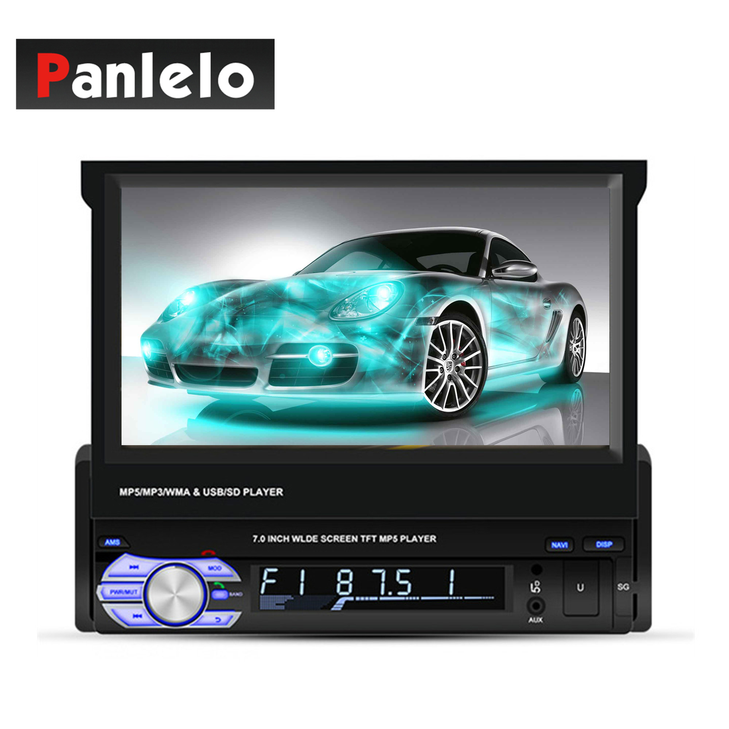 Panlelo T2 1 Din Android Car Stereo Music Audio Player 7 inch 1GB 16GB Quad Core 1080HD GPS Navigation Radio AM FM BT Call