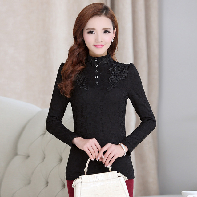 Women Bottoming Blouse Female High Collar Lace Shirt Long-sleeved Tops Plus Size 3XL 3