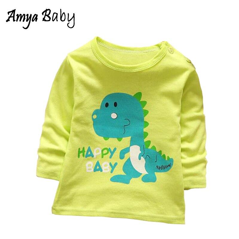AmyaBaby Boys Long Sleeve Tops Tees Cotton Cartoon Dinosaur Shirt Casual Boy T Shirts For Children Baby Girl Tshirt Baby Clothes Футболка