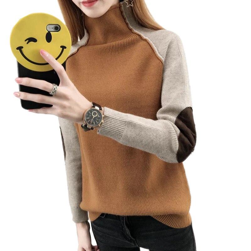 Las mujeres de invierno suéteres caliente de manga larga de cuello alto Color Patchwork Jersey de punto suéteres mujer Hiver mujeres sudaderas