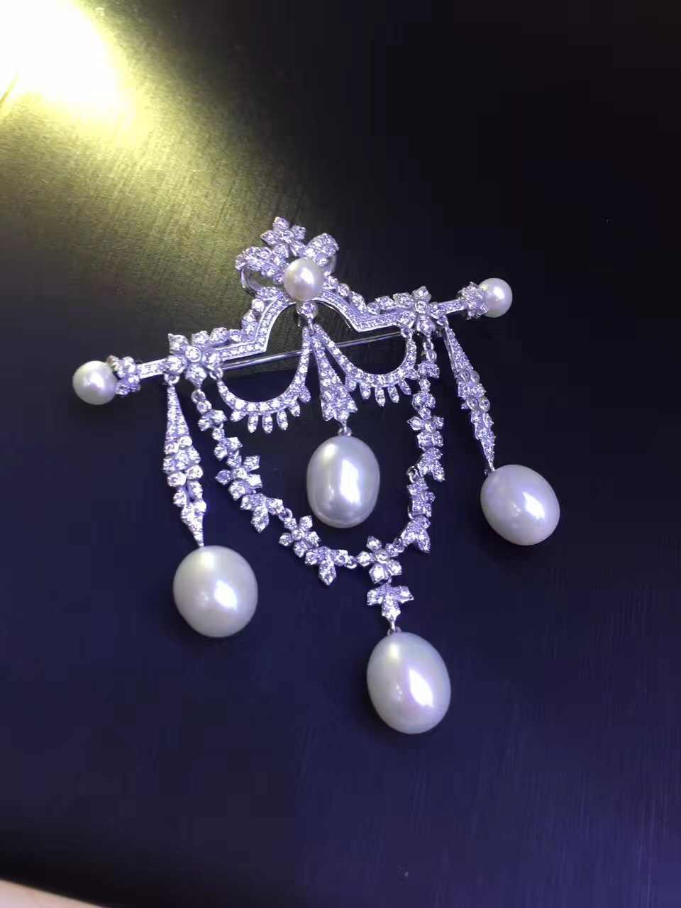 Air tawar alami mutiara bros pins 925 sterling silver dengan zirkon kubik antik victoria air mata bentuk drop pengiriman gratis