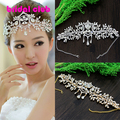New Angle Gold Wedding Headband  Clear Rhinestone Wedding Hair Accessory Wedding Quinceanera Frontlet Forehead Hairwear 2 color