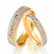 все цены на Forever LOVE Letter Rings Pure Copper Antique Gold Color Lucky 3D Ring Romantic Zircon Ring Jewelry Valentine Anillos Bizuterias онлайн