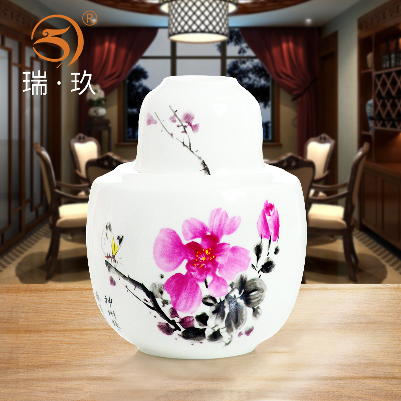 Household Porcelain Wine Warming Pot Retro Bone Set