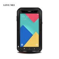 AMO MEI Caso o Metal De Alumínio Para Samsung Galaxy A9 A9000 Poderosa Armadura Tampa Do Telefone À Prova de Choque Vida À Prova D' Água + Gorilla Glass