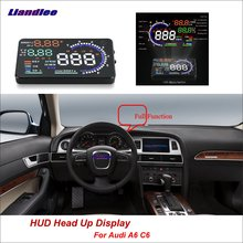 Liandlee Car HUD Head Up Display For Audi A6 C6 2011-2018 Digital Speedometer Fuel Consumption Projector Screen Detector eanop en smart car hud head up display obd ii eobd auto digital car speedometer for audi a6 c6 toyota ford