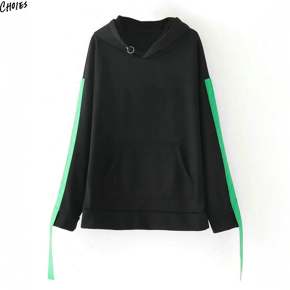 Black Contrast Ribbon Strap Sleeve Pouch Pocket Hoodie Sweatshirt Women Autumn Ring Design New Simple Fashion Fall Pullover