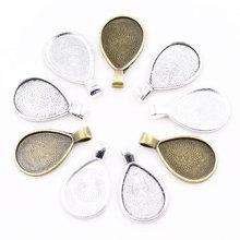 ZHUBI 10шт ювелирных изделий подходит 18x25mm кабошон, каплевидная форма установления Античное серебро подходит подвеска DIY лотки для ожерелья