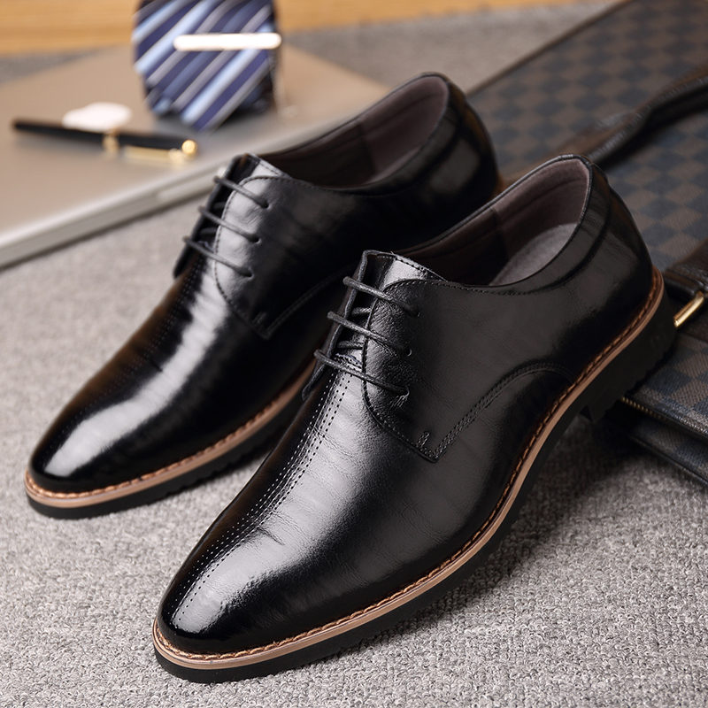 2018 New Black Wine Red Mature Men's Shoes Dress British Youth - Men's Shoes - Photo 5