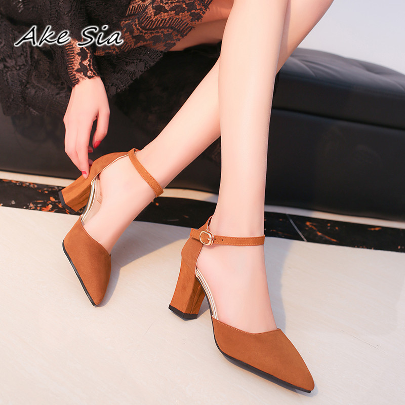 HTB1rhuqyUR1BeNjy0Fmq6z0wVXa2 2019 Sandalias femeninas high heels Autumn Flock pointed sandals sexy high heels female summer shoes Female sandals mujer s040
