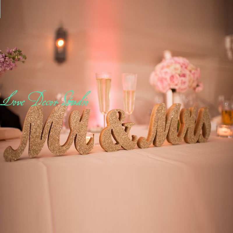ᑐGold Sparkle Mr and Mrs Wedding Chair Signs Mr & MRS Sign Wedding ...