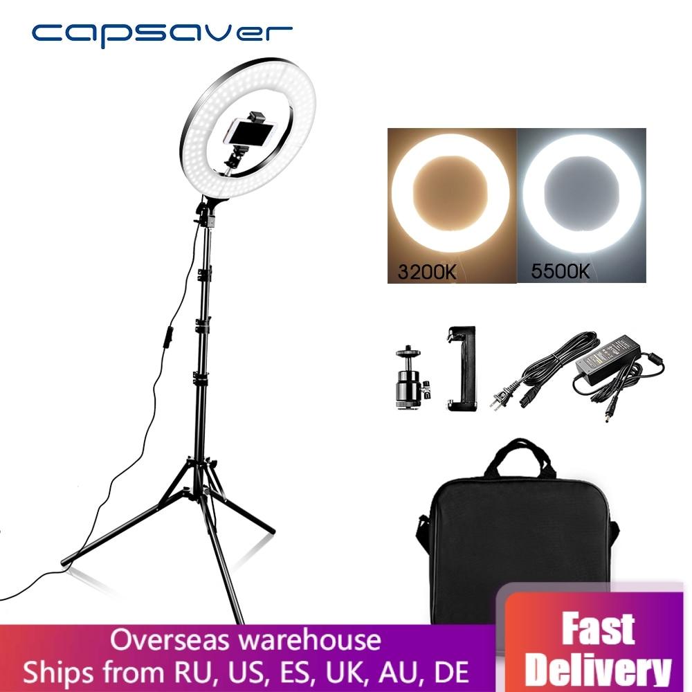 capsaver 14 LED Ring Light Annular Lamp Bi-color 3200K-5500K CRI90 Ring Lamps for Video YouTube Photo Ringlight Makeup Light