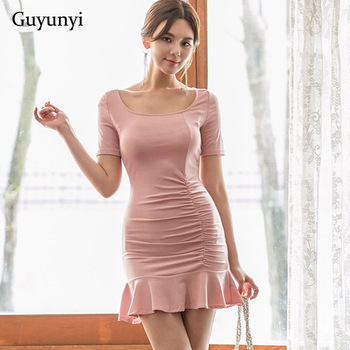 Pink Sexy Club Dress 2019 Summer Simple Small Sexy Ruffled Hem High Waist Decorative Pleating Slim Fit Party Dress Women