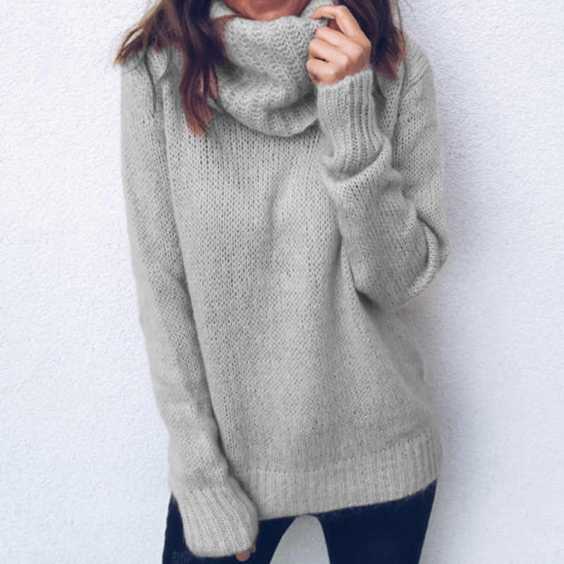 e72ebb11ef Women's Elegant Winter Turtleneck Loose Sweater 2018 Autumn Female Fashion  Tops Ladies Warm Solid Office Knitted Pullover Jumper
