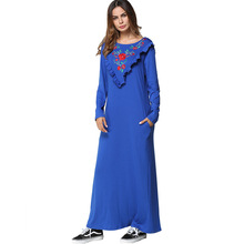 185277 Euramerica New Embroidered Long Sleeved Dress Childrens Middle East Muslinm Musulman Mujer Vestidos Hot Sell