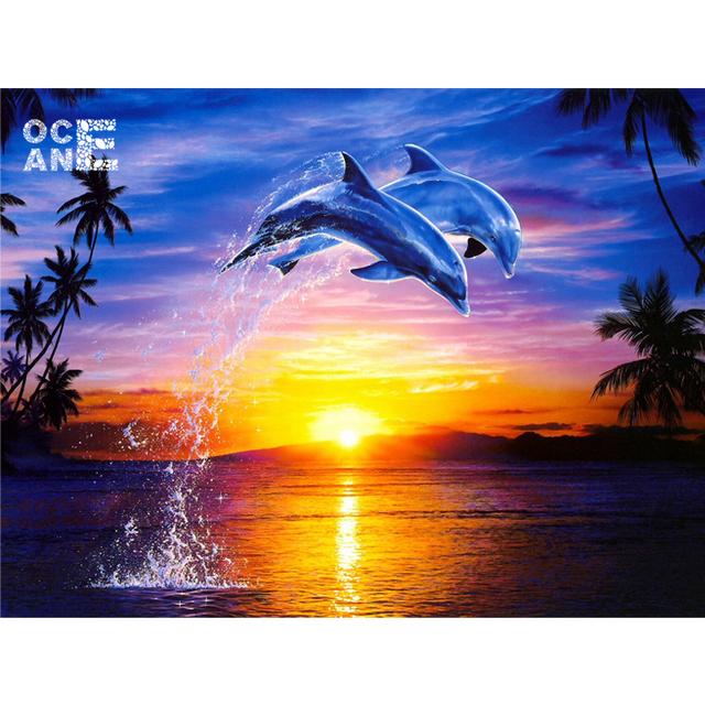 wall decor art 5D diy diamond painting Dolphins swim square drill full diamond embroidery new needlework  home decoration D128