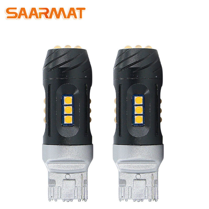 2Pcs <font><b>LED</b></font> CanBus No Error <font><b>T20</b></font> 7440 WY21W 7444 lamp with Car Turn Signal Front <font><b>Rear</b></font> Light No Hyper Flash 2100lm Yellow @12V CANBUS image