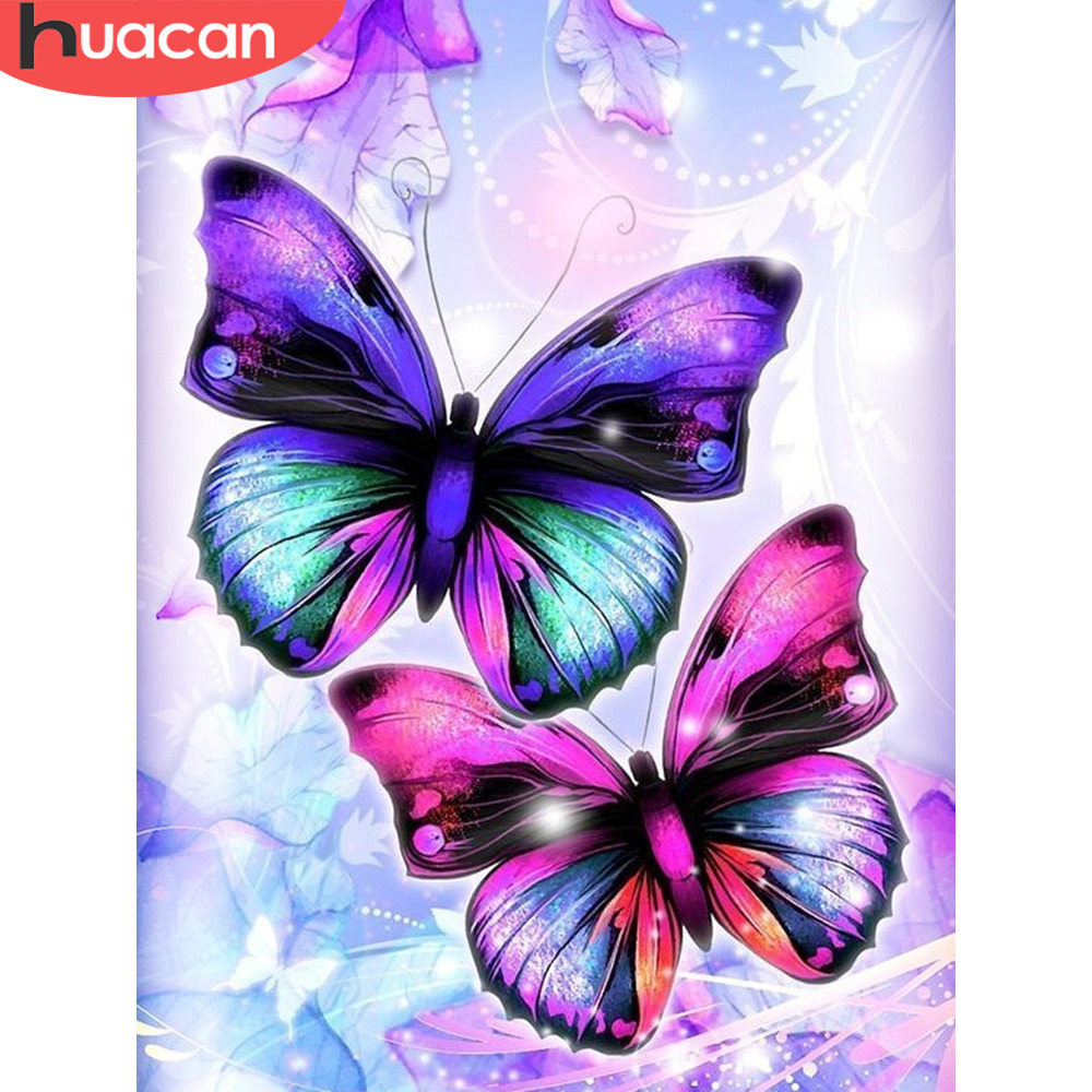 HUACAN 5D DIY Full Square Diamond Painting Animal Butterfly Mosaic Diamond Embroidery Decor Home Picture Of Rhinestone Handmade