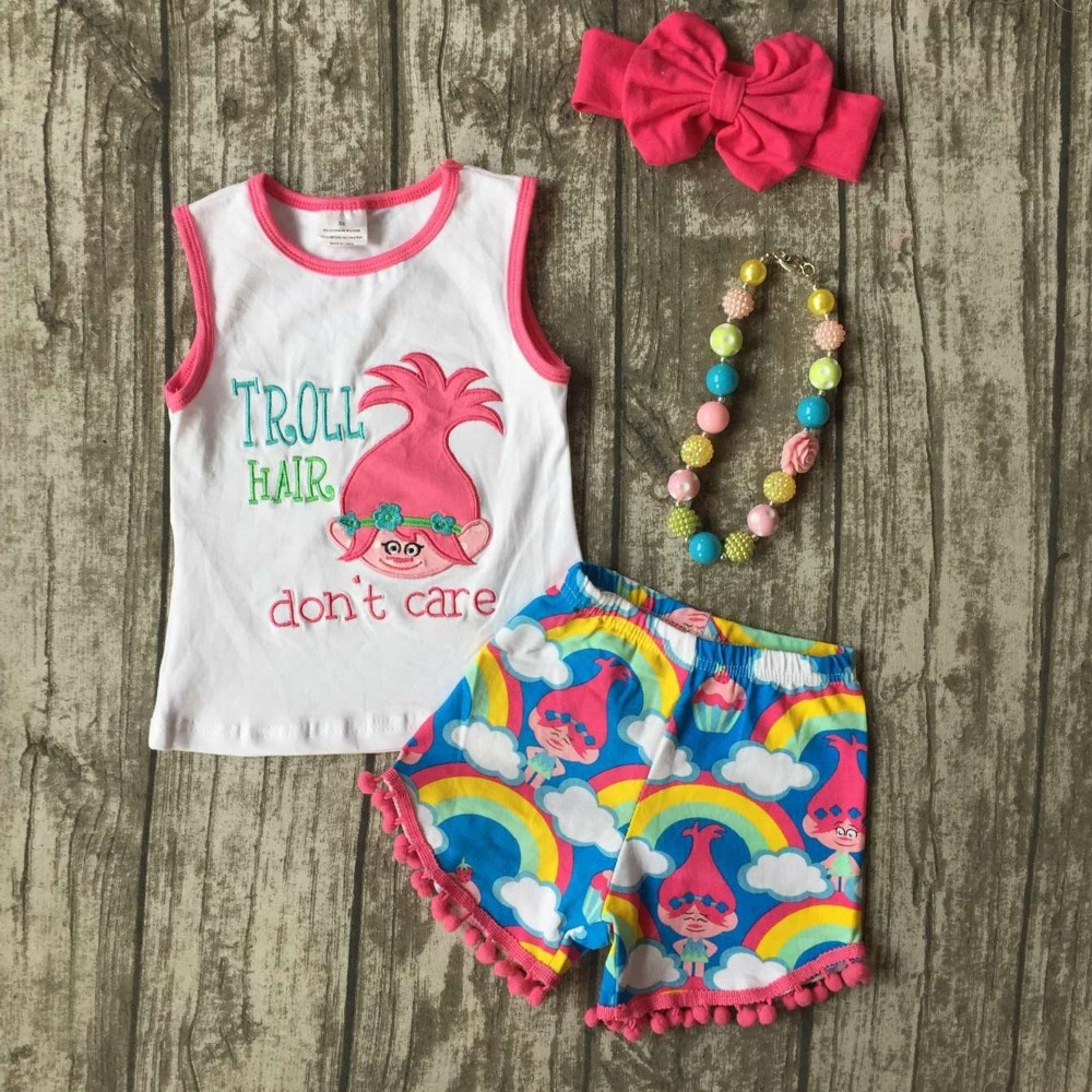 baby Girls Summer clothes girls children troll hair don;t care outfits kids rainbow shorts outfits with accessories baby kids baseball season clothes baby girls love baseball clothing girls summer boutique baseball outfits with accessories