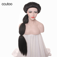Ccutoo 100cm Princess Women S Synthetic Hair Wig For Adult Long Straight Black Fluffy Braid Halloween