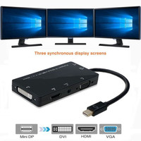 4 In1 Mini DisplayPort Thunderbolt To HDMI VGA DVI Audio Cable Multiple Displays Free Shipping