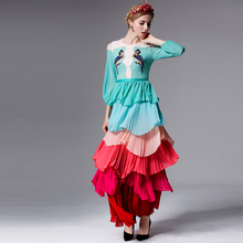 New Fashion 2016 Runway Maxi Dress Women's Lantern Sleeve Parrot Embroidery Color Gradient Cascading Ruffle Pleated Long Dress