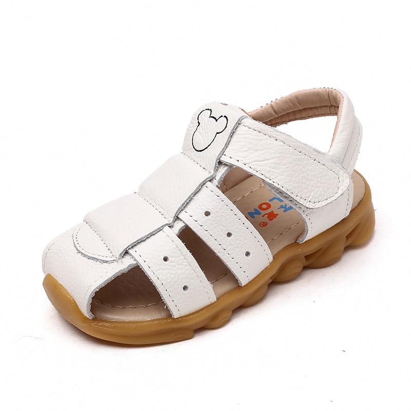 girls summer sandals 100% pure leather white beach shoes kids yellow children boy sandals leather sandals girls