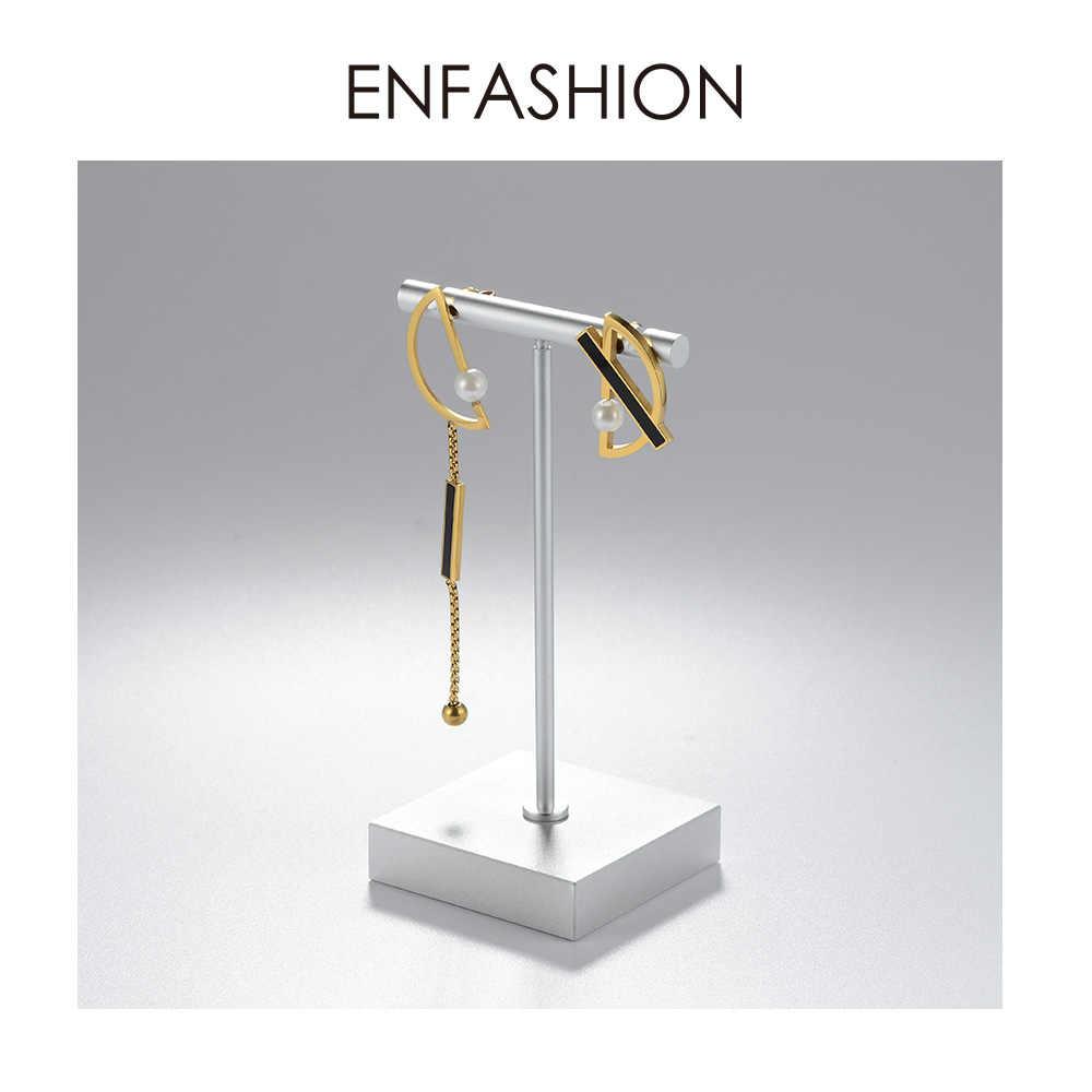 Enfashion Asymmetric Pearl Earrings For Women Letter D Tassel Dangle Earings Stainless Steel Femme Jewelry 2019 Pendientes E1019