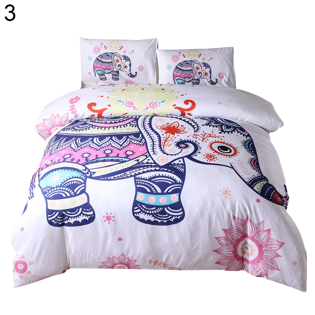 Mode ethnique éléphant housse de couette + 2 literie housse d'oreiller ensemble lit décor