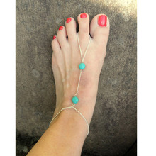 Round Turqouise Pendant Ankle Bracelet Barefoot Sandals Anklets for Women Foot Jewelry Anklet CA025
