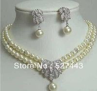 Wholesale Fancy Bridal Jewellery Silver Pearl Necklace Earring (A0423)