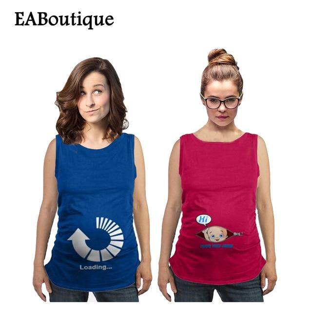 2017 Новое лето Забавный стиль моды шаблон хлопок танки беременных женщин жилет одежда для беременных большой размер розничная 1 шт.