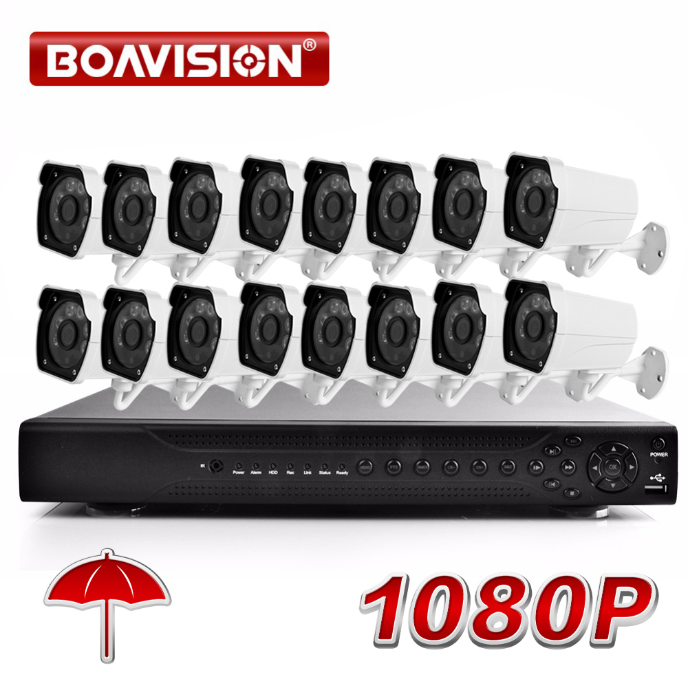 Secuity Camera System 16CH 1080P AHD DVR System Kit 1080P 16PCS Bullet Waterproof IR 20M AHD Camera 1080p CCTV Surveillance Kit 2017 newest security ahd 1080p 2 0mp waterproof ir metal cctv bullet camera system cheap product