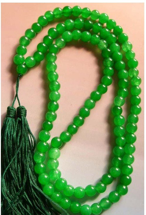 108 Green Jades Bead Tibet Buddhist Prayer Necklace Mala Fashion Free Shipping