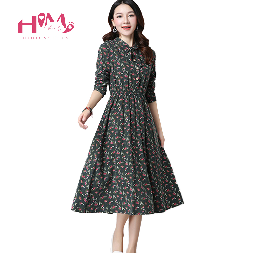Cute Green Floral Dress Vintage Ladies Dresses Bohemian Style Autumn Winter Long Sleeves All