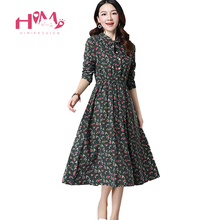 Cute Green Floral Dress Vintage Ladies Dresses Bohemian Style Autumn Winter Long Sleeves All Match New