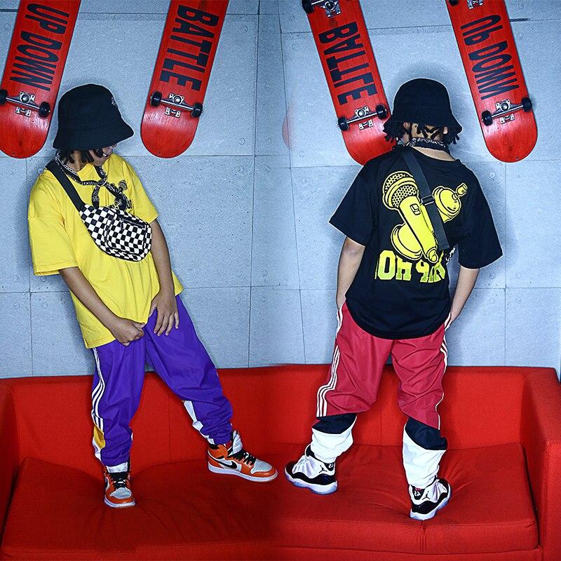 New Hiphop Short Sleeve Pants Set Kids Children'S Jazz Performance Costumes Hip Hop Clothing Boys Street Dance Suit  DQS2119