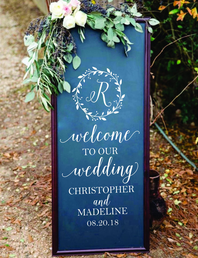 Personalized Date Custom Name Wedding Poster Mural Vinyl Wall Decals Rustic Wedding Ornament Wedding Sign Decals W398 in Wall Stickers from Home Garden