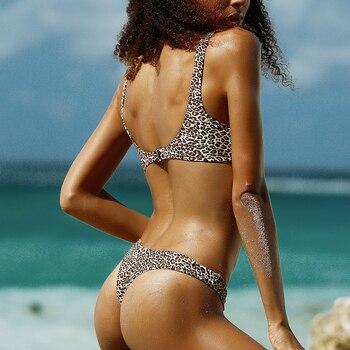 RXRXCOCO Bikini Women Sexy Swimsuit Thong Bikini Set Halter Summer Leopard Swimwear Brazilian Bathing Suit Padded Swim Suit 1