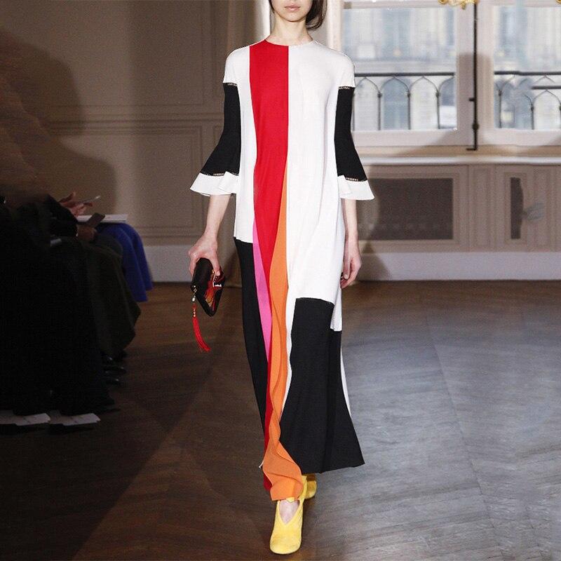 Design romantique élégant élégant femmes élégantes mode robes longues en vrac manches évasées contraste couleur volants robe de haute qualité