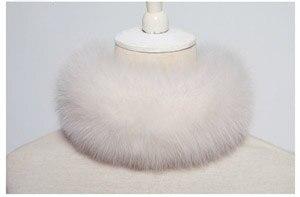 SCM043 шарф из лисьего меха шарфы-повязки на шею теплая накидка шаль-пончо снуд много цветов 57*12 см - Цвет: cream
