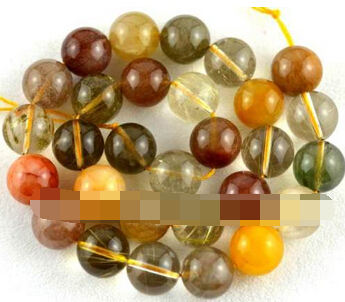 Free shipping Jew.0036 AAA Natural Multicolor Rutilated Quartz Beads 15 New 14mmFree shipping Jew.0036 AAA Natural Multicolor Rutilated Quartz Beads 15 New 14mm