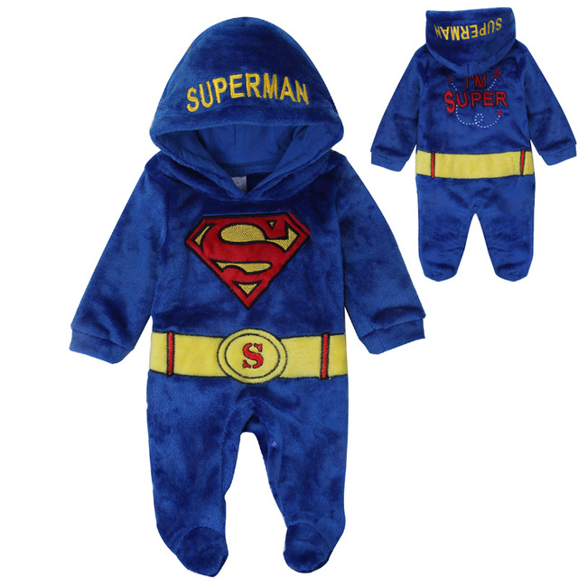 2017 Hot sale Baby Hooded Toddler Jumpsuit Overall Infant Quality Embroidered Superman Romper Winter Coral Fleece Onesie Pajamas