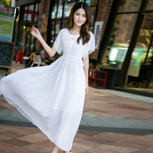 Summer Dress 2018  Womens  Bohemian Chiffon Dress Ladies Solid Leisure Plus Size  Elegant Vestidos Sexy Robe