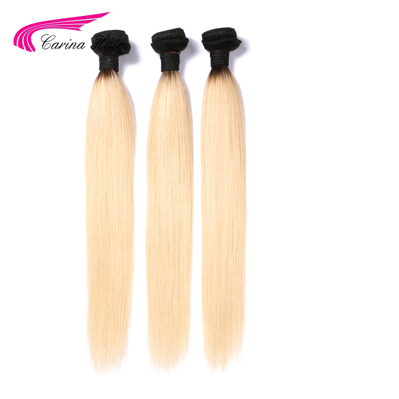 Platnium Ombre 613 Bundle Hair Blonde Deals Sew In Straight Human Hair Blonde Brazil Remy Hair Bundles With Black Dark Root